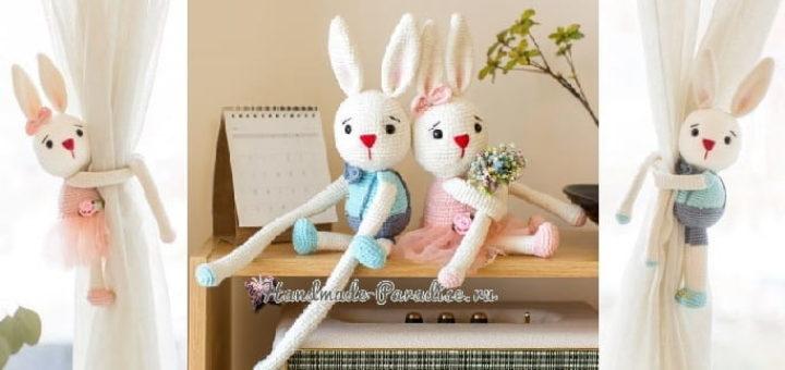 Вязаные кролики - подхваты для штор в детскую комнату (2)
