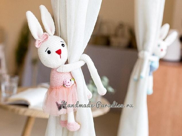 Вязаные кролики - подхваты для штор в детскую комнату (3)