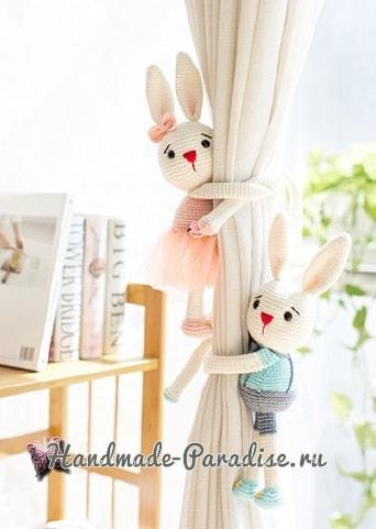 Вязаные кролики - подхваты для штор в детскую комнату (4)