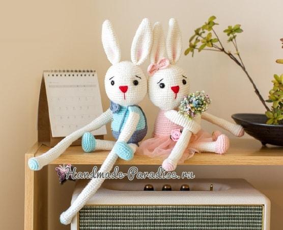 Вязаные кролики - подхваты для штор в детскую комнату (5)
