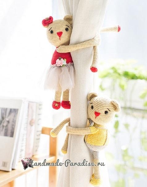 Вязаные мишки - подхваты для штор в детскую комнату (2)