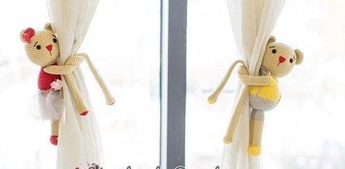 Вязаные мишки - подхваты для штор в детскую комнату (5)