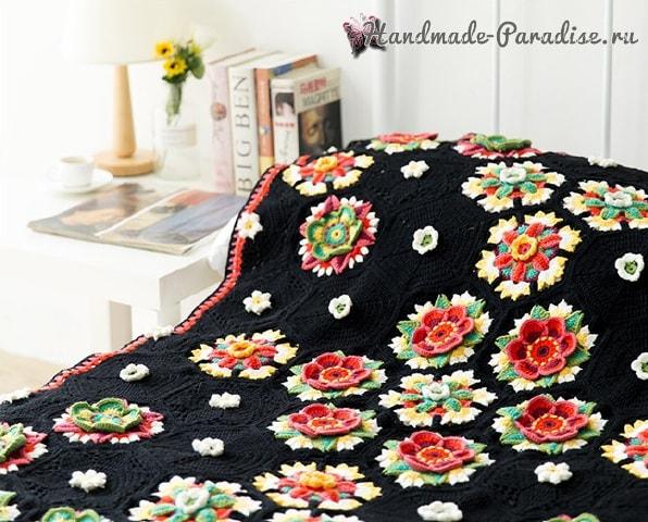 Яркие цветы на черном фоне. Красивый плед крючком (1)