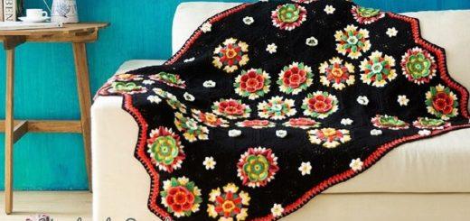 Яркие цветы на черном фоне. Красивый плед крючком (2)