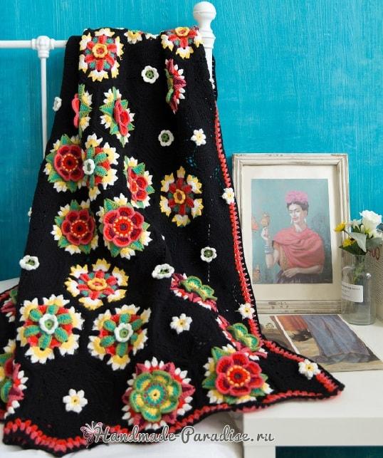 Яркие цветы на черном фоне. Красивый плед крючком (3)