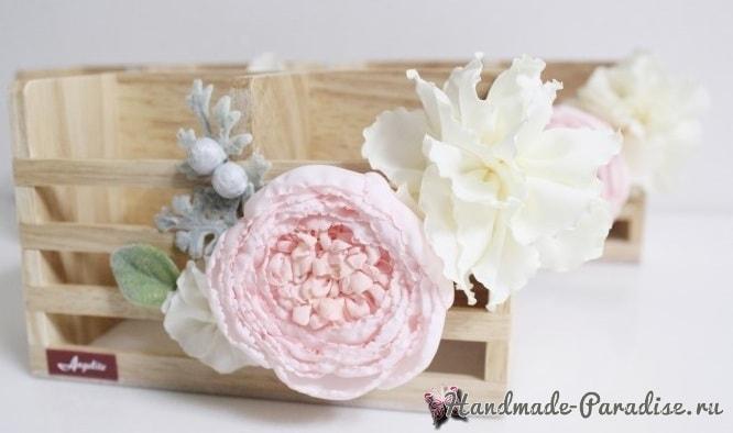Английская роза Juliet Дэвида Остина из ткани (1)