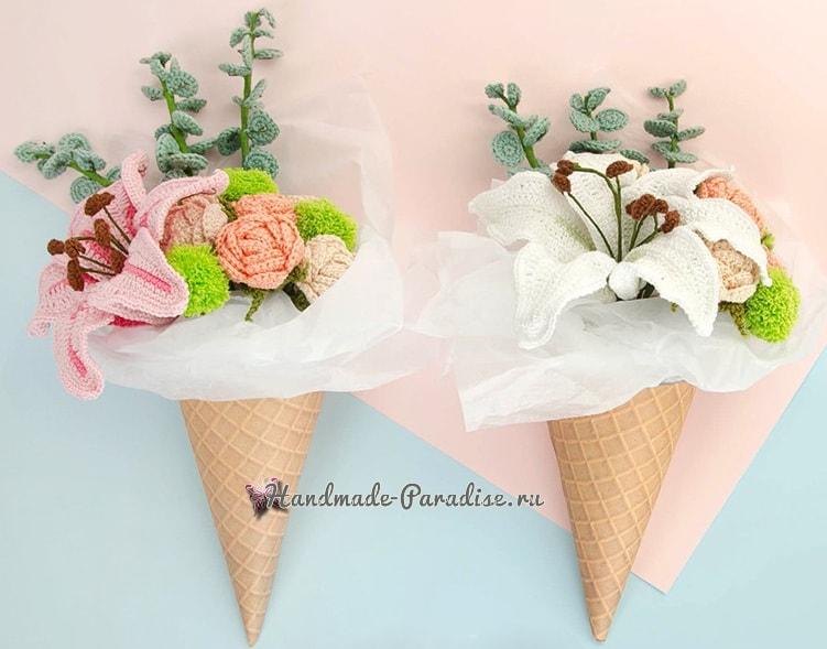 Букет вязаных крючком лилий с розами (2)