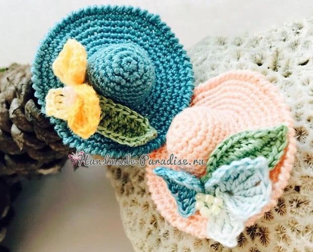 Декоративная брошь - шляпка крючком (1)