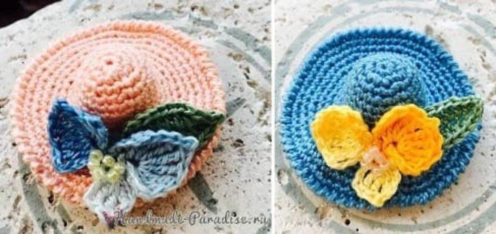 Декоративная брошь - шляпка крючком (2)