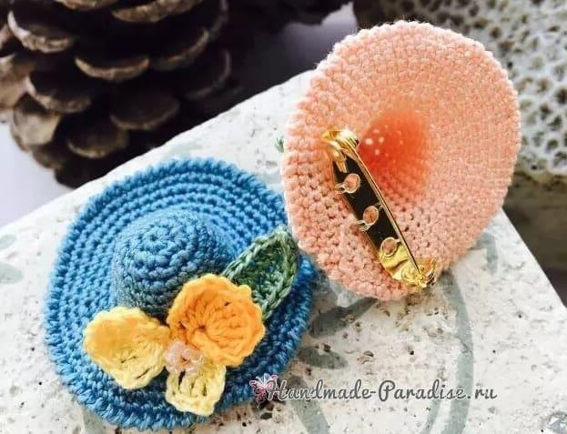 Декоративная брошь - шляпка крючком (3)