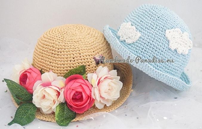 Детская соломенная шляпка крючком (3)