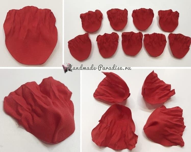 Красные маки из ткани своими руками (8)