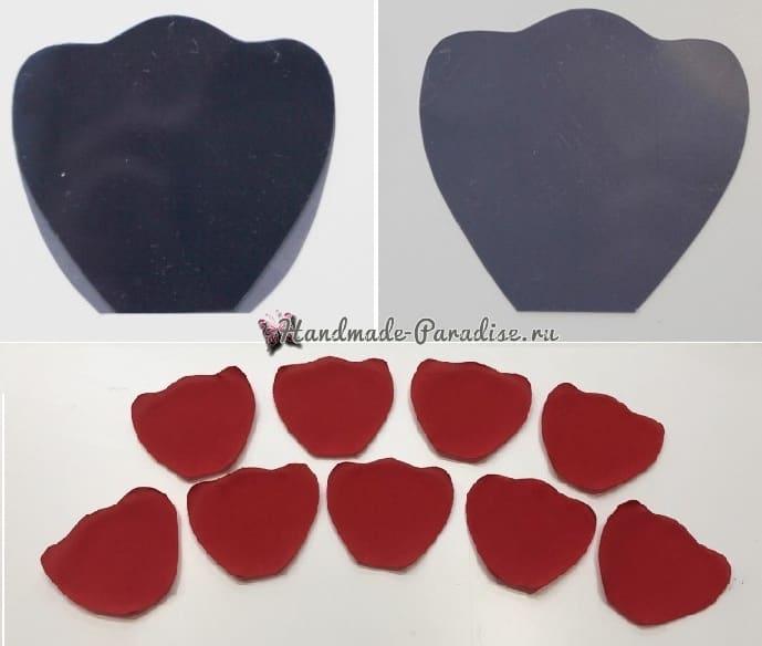 Красные маки из ткани своими руками (9)