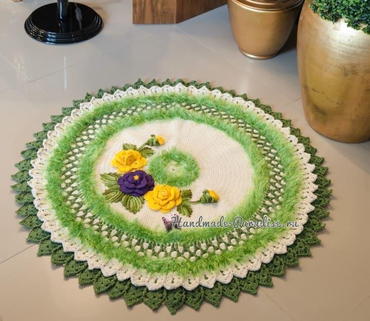 Круглый зеленый коврик с цветами (3)