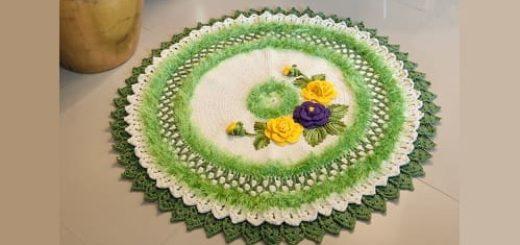 Круглый зеленый коврик с цветами 94)