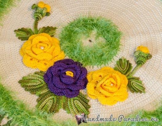 Круглый зеленый коврик с цветами (5)