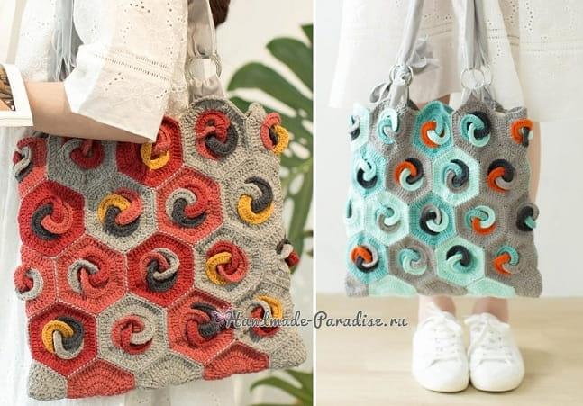 Летняя сумка-мешок крючком в стиле пэчворк (3)