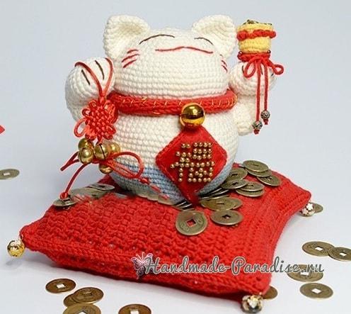 Манеки-неко денежный кот крючком. Описание вязания (2)