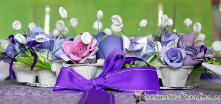 Пасхальный венок с розами из яичных лотков (1)