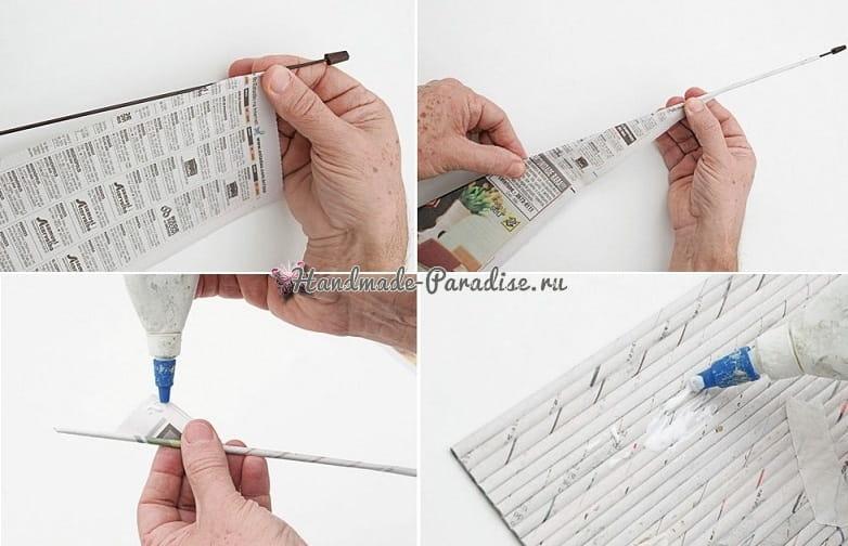 Плетение салфетницы из газетных трубочек (3)