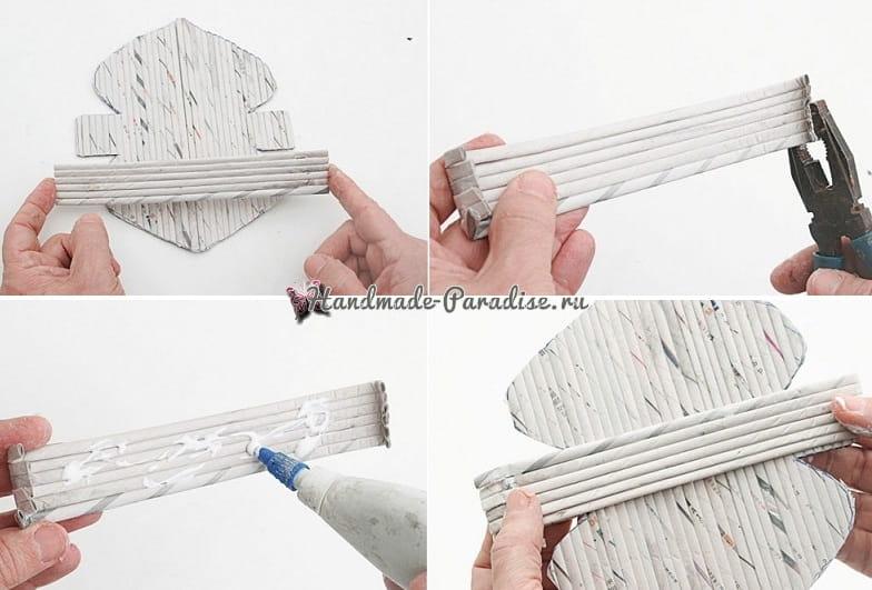 Плетение салфетницы из газетных трубочек (5)