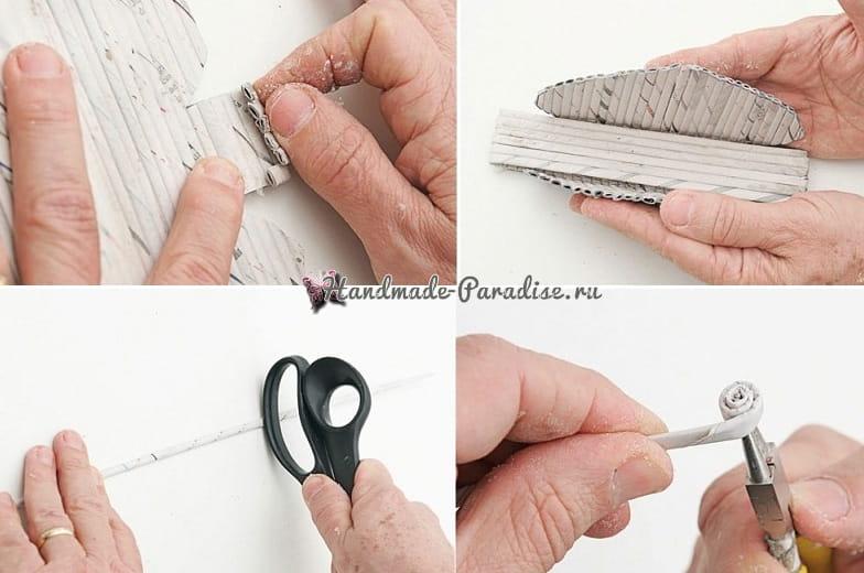 Плетение салфетницы из газетных трубочек (6)