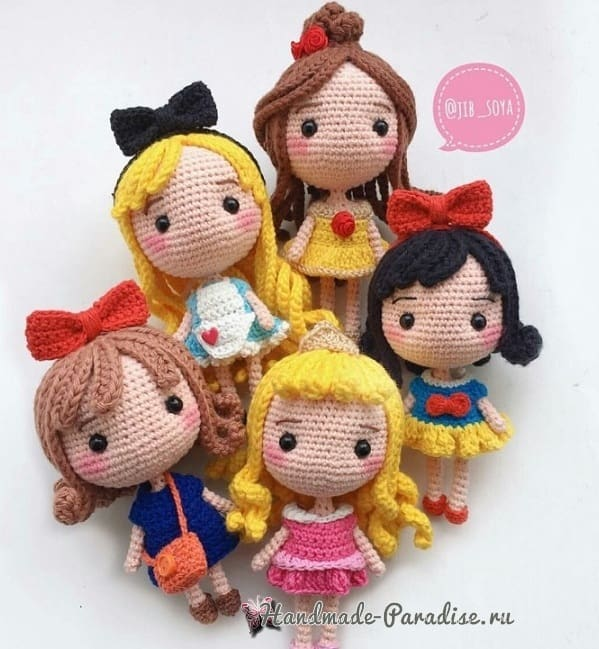 Вяжем куколку - принцессу амигуруми (5)