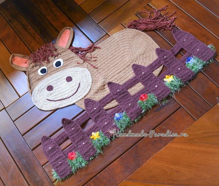 Детский коврик «Лошадка за забором» крючком (6)