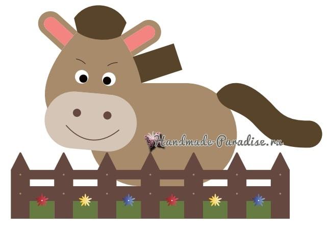 Детский коврик «Лошадка за забором» крючком (7)