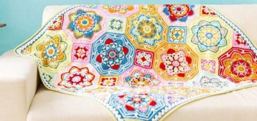 Многоцветный плед «Персидский ковер» крючком (2)