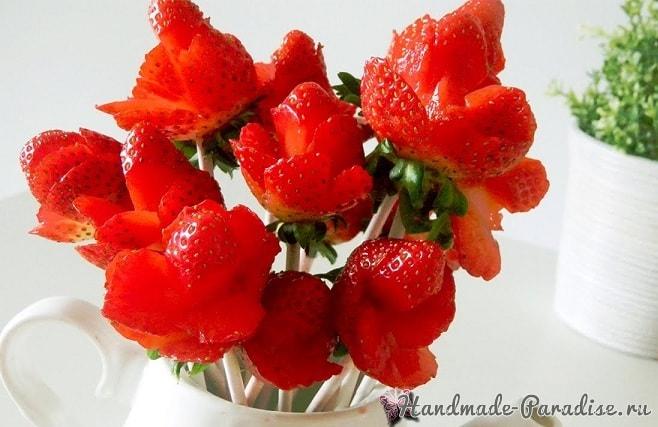 Розы из клубники. Мастер-классы (5)