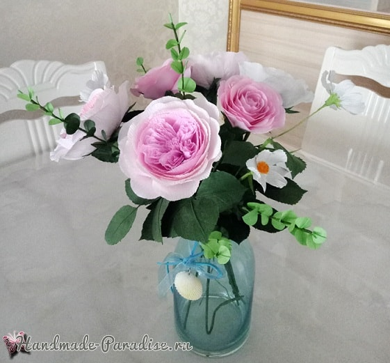 Английские розы Дэвида Остина из бумаги (6)