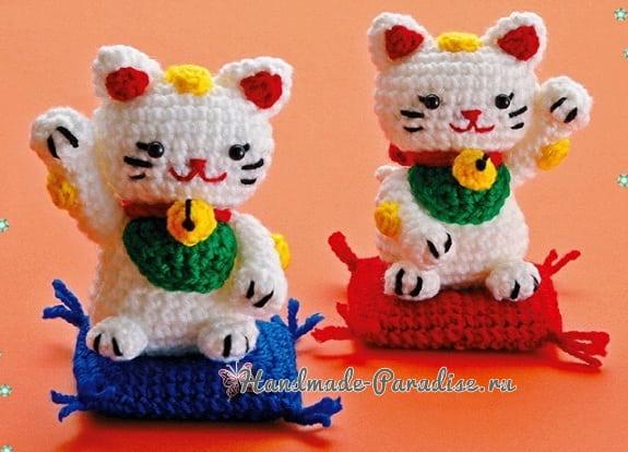 Денежный кот Манеки-неко. Схемы вязания крючком