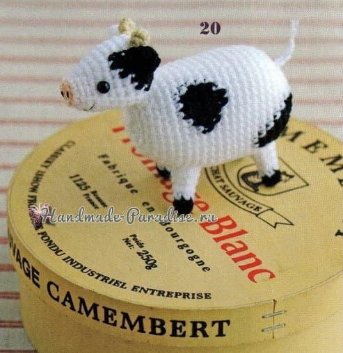 Корова, овечка и козлик амигуруми. Схемы (3)