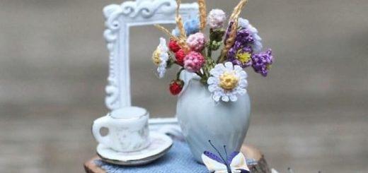 Миниатюрные тюльпаны и ромашки крючком