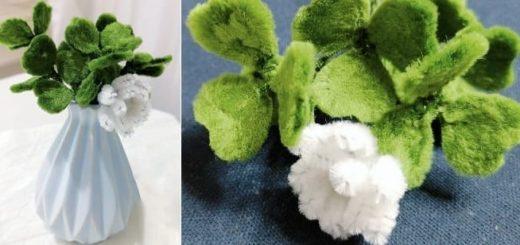 Цветущий клевер из синельной проволоки (3)
