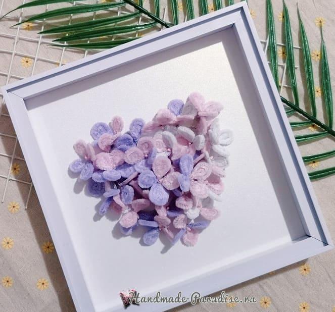 Цветы гортензии из синельной проволоки (1)