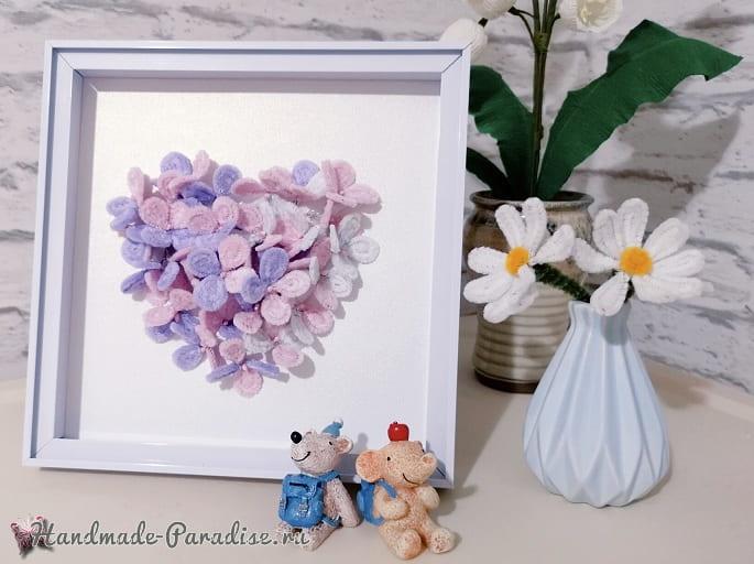 Цветы гортензии из синельной проволоки (2)