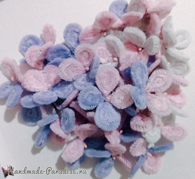 Цветы гортензии из синельной проволоки (3)