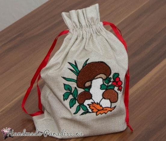 Вышиваем мешочек для хранения грибов (4)