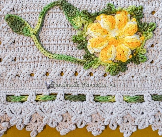 Крючком. Белый коврик с желтыми цветами (4)