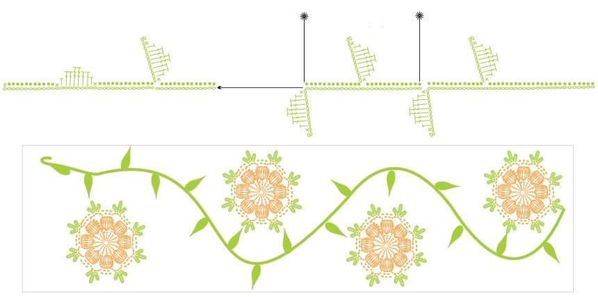 Крючком. Белый коврик с желтыми цветами (5)