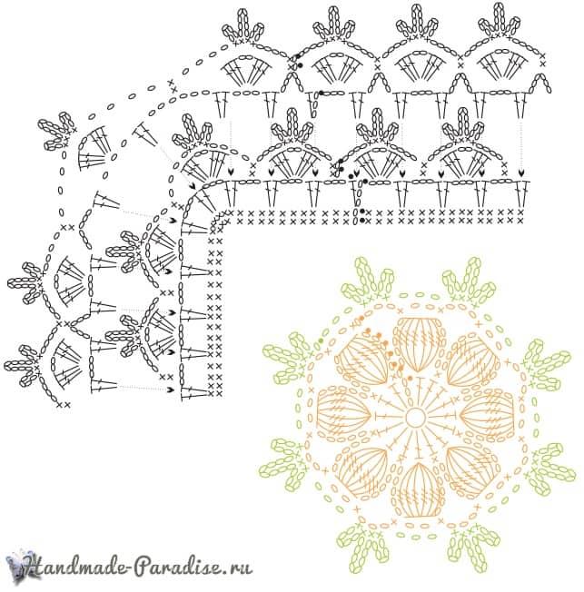 Крючком. Белый коврик с желтыми цветами (6)