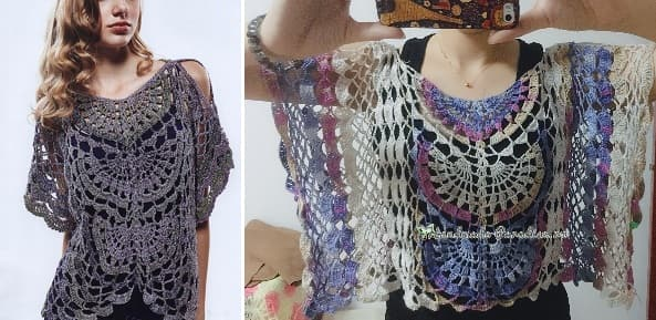 Нарядная блуза крючком. Схема