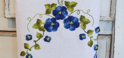 Вязаные цветы для украшения кухонного полотенца (2)