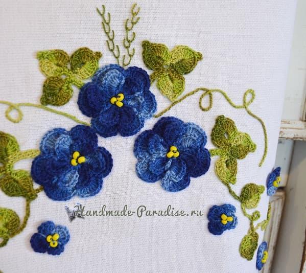 Вязаные цветы для украшения кухонного полотенца (3)