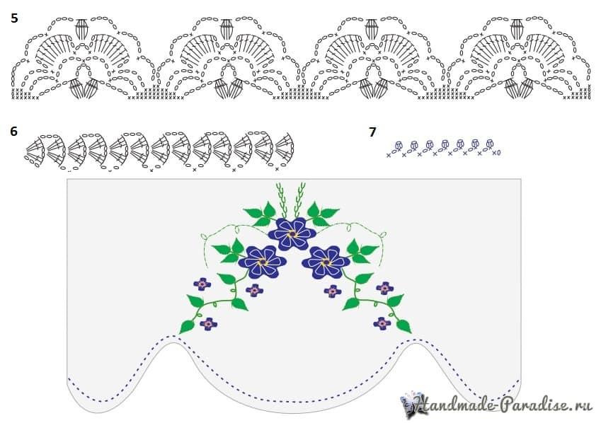 Вязаные цветы для украшения кухонного полотенца (4)