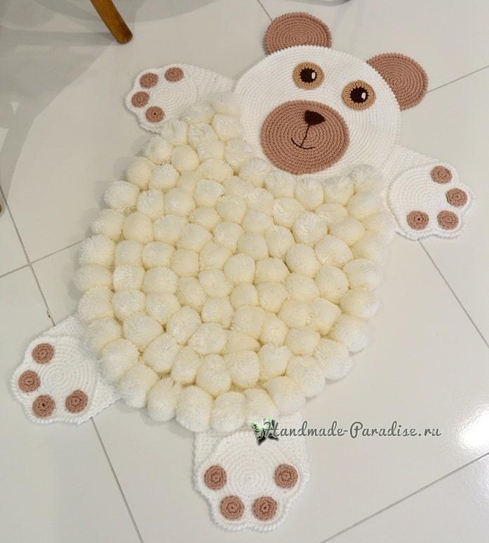 Детский коврик «Белый медвежонок» крючком (1)
