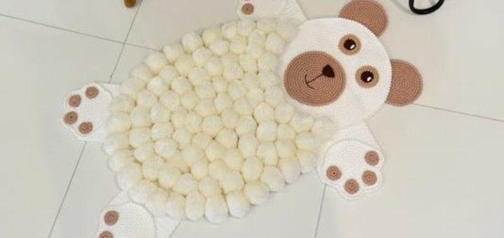 Детский коврик «Белый медвежонок» крючком (2)