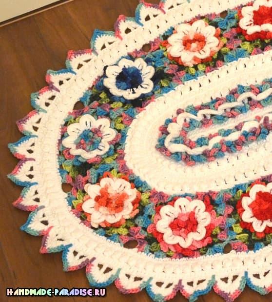 Цветочный коврик крючком из секционной пряжи (1)
